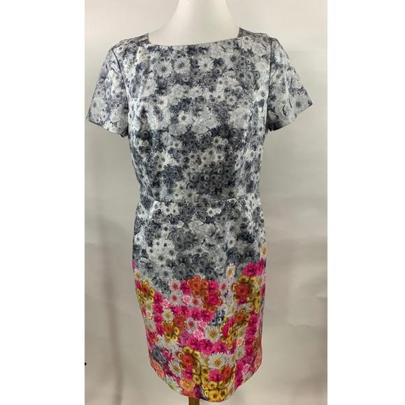 Talbots Dresses & Skirts - Talbots Womens Dress 14 Gray Floral Sheath A71-14P